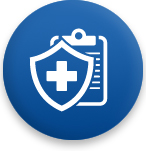 Medical shield and clipboard - Dental and Vision Coverage